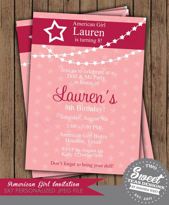 American Girl Dolls Birthday Party Invitations Free Printable