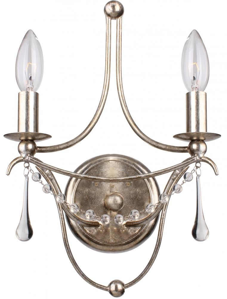 Two light antique silver wall light by crystorama silver sconce crystal