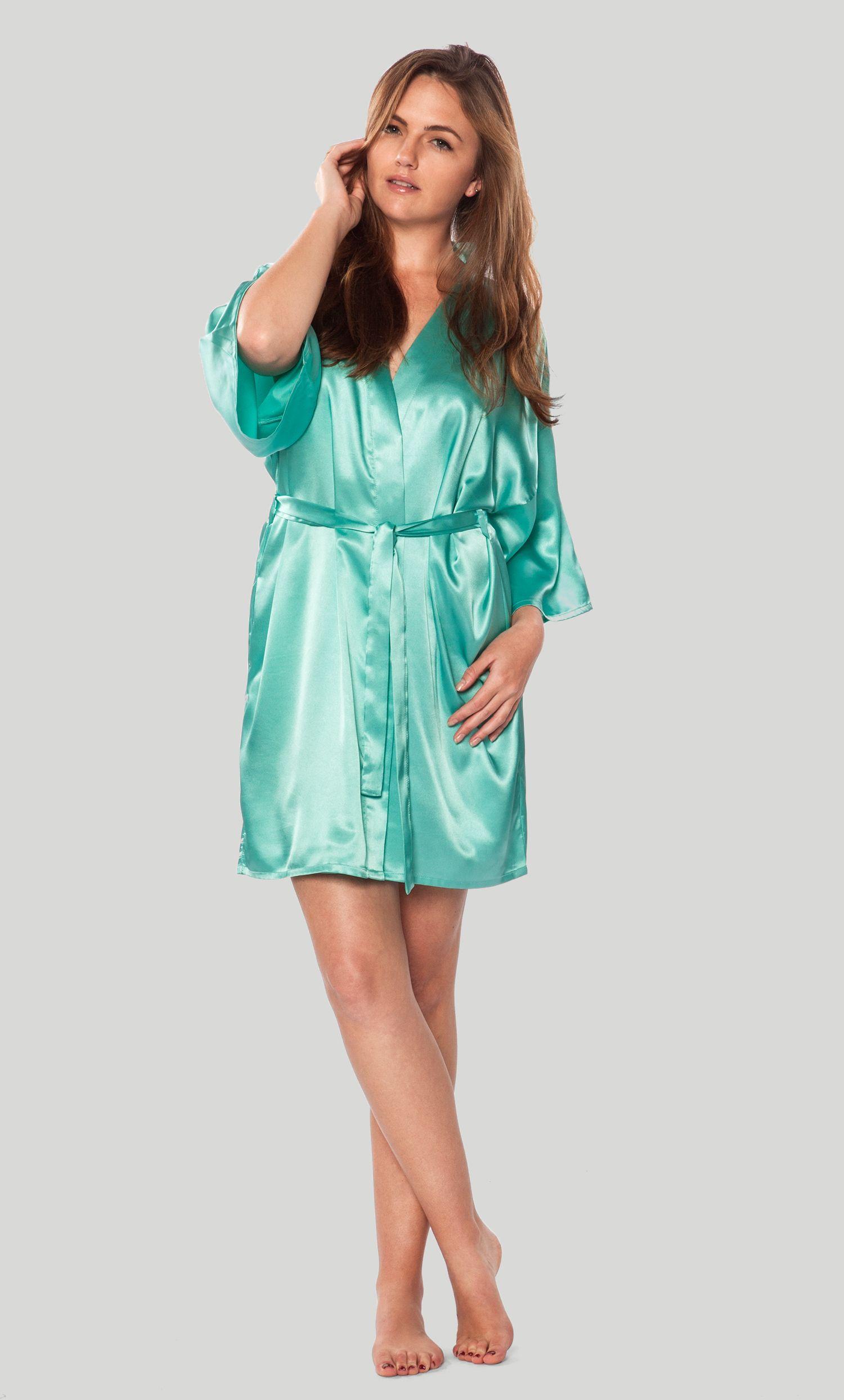cb67e7abfe Premium Bathrobes    Satin Robes    Satin Kimono Mint Green Short Robe -  Wholesale bathrobes