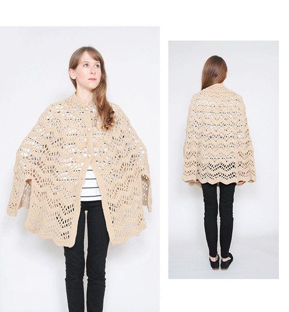 60s Crochet Cape Vintage Sweater Beige Lace Knit Handmade Capelet ...