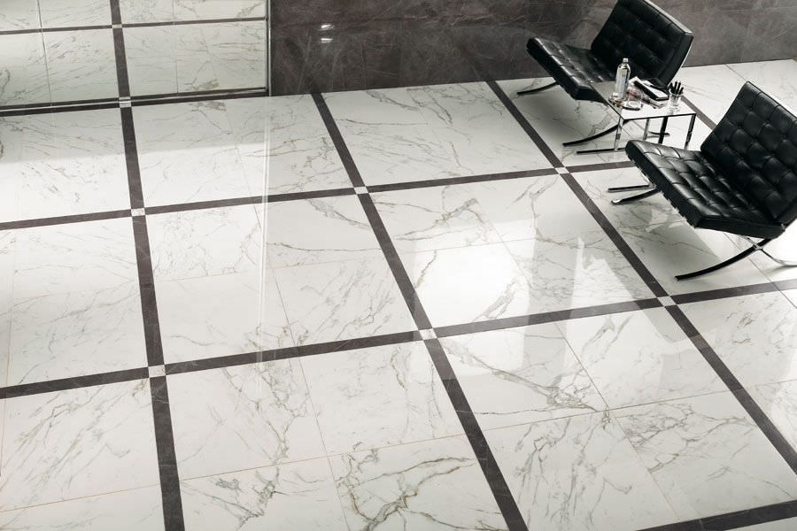 Indoor tile floor porcelain stoneware polished marvel for White marble floor designs