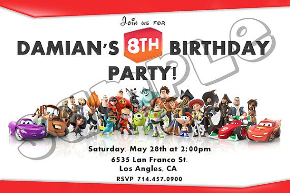 Disney Infinity Invitation - Disney Infinity Birthday PArty Printables - Infinity Disney Party DIY