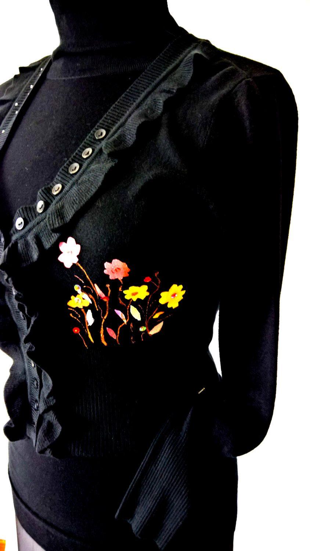 Maglione in misto lana nero per donna; floreale; rifinita con seta; pura seta by InSetArte on Etsy