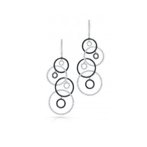 Roberto Coin 18K White Gold Black & White Diamond Drop Earrings