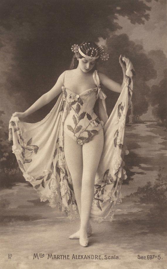 Mademoiselle Marthe Alexandre, Belle Époque French Theatre Stage Actress in Burlesque Costume & Headdress Original 1900s RARE Photo Postcard