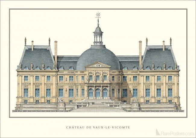 Unknown Chateau De Vaux Le Vicomte Architecture Drawing
