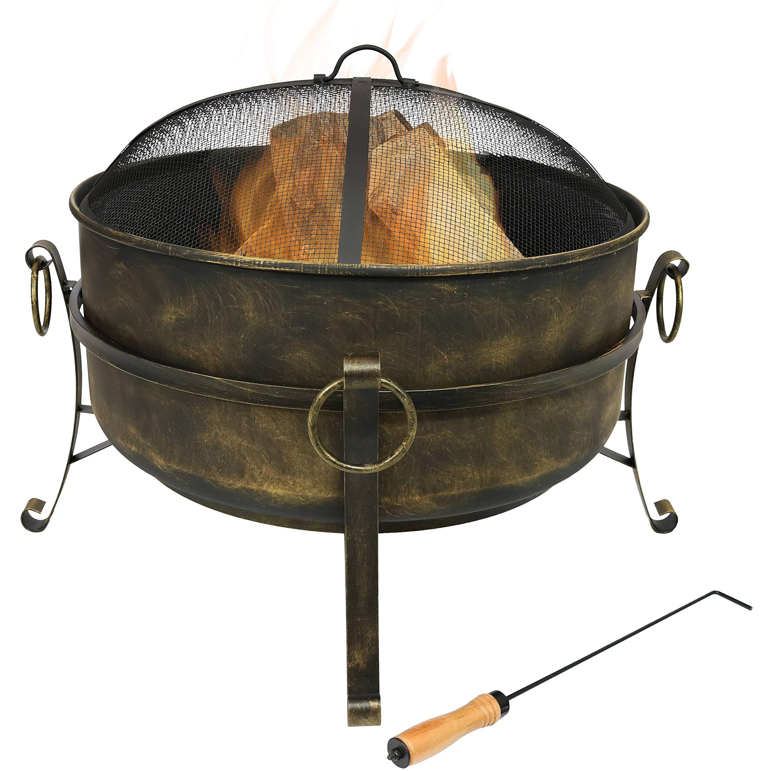 Sunnydaze Cauldron Outdoor Fire Pit 24 Inch Deep Bonfire Wood Burning Patio And Backyard Firepit For O Wood Burning Fire Pit Wood Burning Fires Fire Pit Bowl