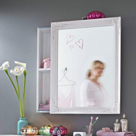 Spiegelschrank, Schiebetür, zwei Innenfächer, Romantik-Look - schiebetür für badezimmer