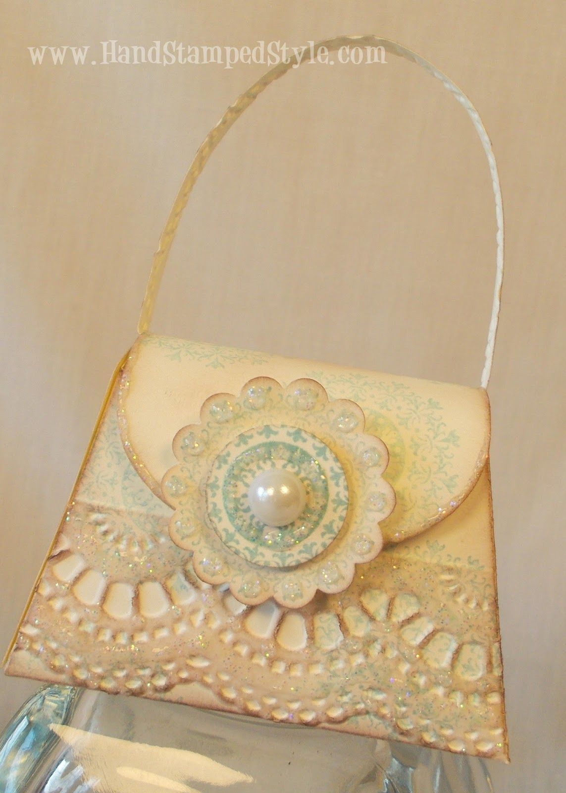 Vintage Petite Purse Die Stampin' Up! - purse die, embossing folder, antique technique - Hand Stamped Style