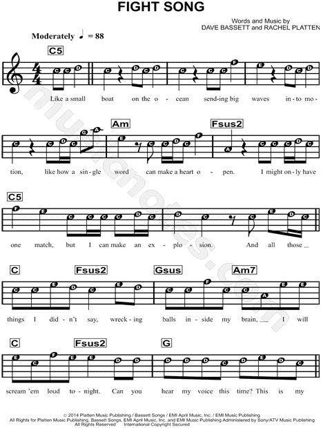 Rachel Platten Fight Song Sheet Music for Beginners in C Major - Download & Print