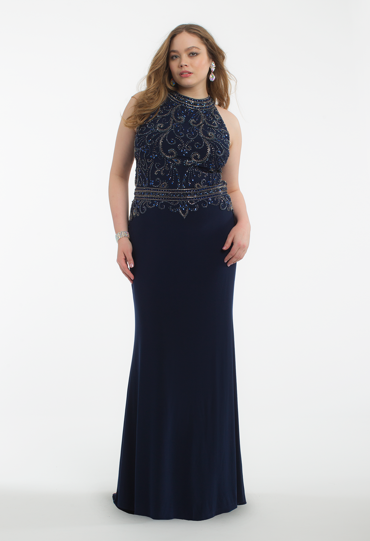 Everyone Will Be Looking Your Way When You Arrive In This Sleek Evening Gown The Cleo Collar Neckline Fitted Beaded Dresses Wedding Guest Dress Sparkly Dress [ 1732 x 1184 Pixel ]