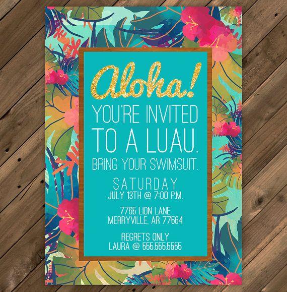 hawaii luau party invitation printable pdf 5x7 by missmurraydesign, Party invitations