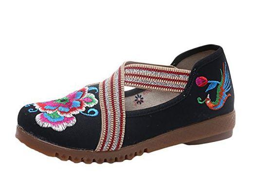 Insun Damen Espadrilles Slipper Blume Stickerei Flats Schuhe Mary Jane Schuhe Blau 35 EU Go038N0k