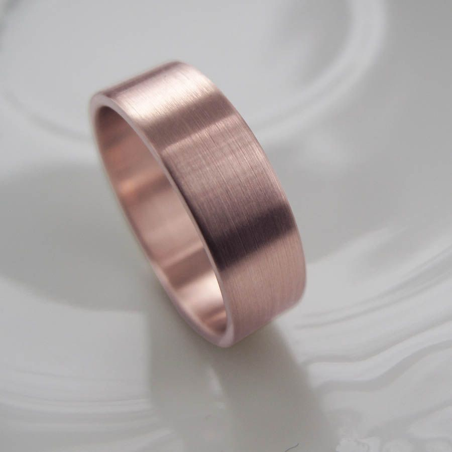 Rose Gold Men S Wedding Band 6mm X 1 25 Mm Wide Handmade Eco Friendly Recycled 14k Yellow Ring Brushed Finish Modern Simple 540 00 Via Etsy