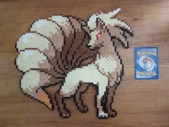 Ninetails Pokemon Perler Bead Sprite by PokePerlers on Etsy, $15.00