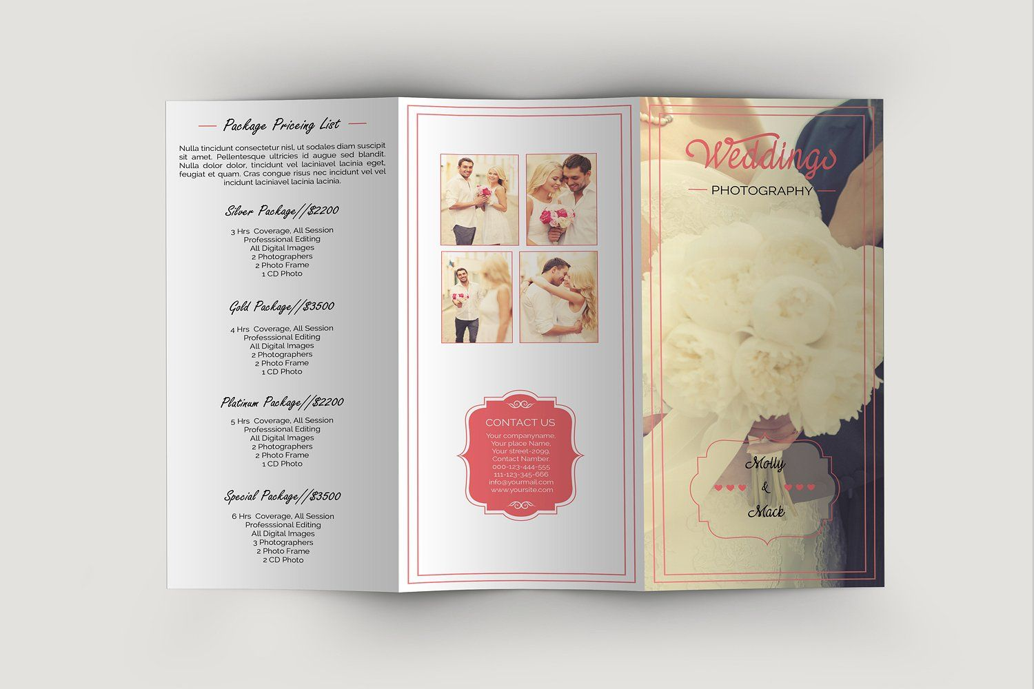 Trifold Wedding BrochureV Trifold Brochure Template For