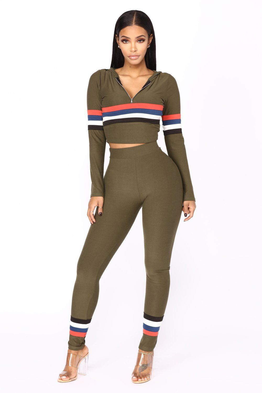 16b6550bbe273 Soni Stripe Lounge Set - Olive Multi Fashion Nova Models