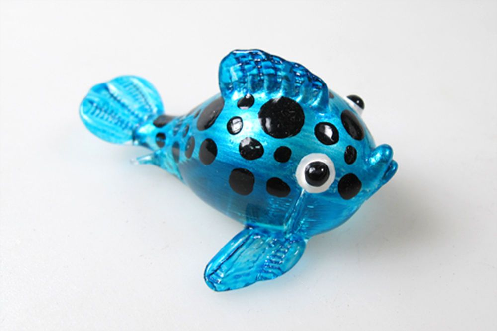 Aquarium Handicraft MINIATURE HAND BLOWN GLASS Blue Puffer Fish FIGURINE
