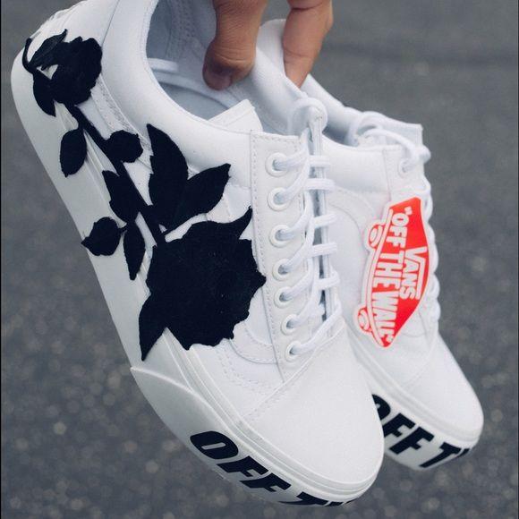 Vans platform white custom | Shoes