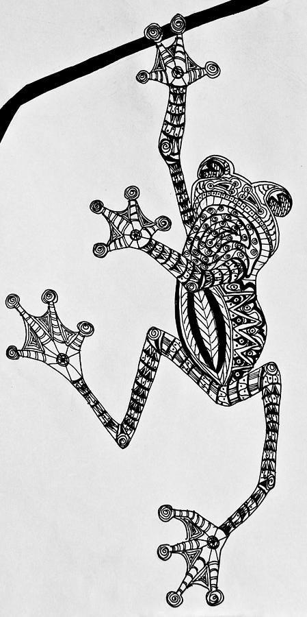 Tattooed Tree Frog – Zentangle by Jani Freimann