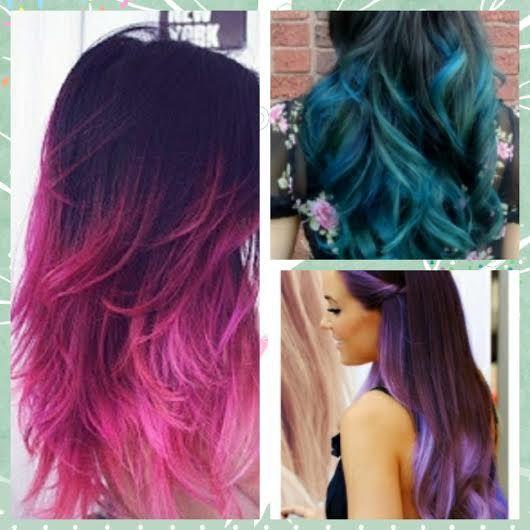Raiz Negra Y Puntas De Colores Buscar Con Google Hair Styles Hair Hair Color