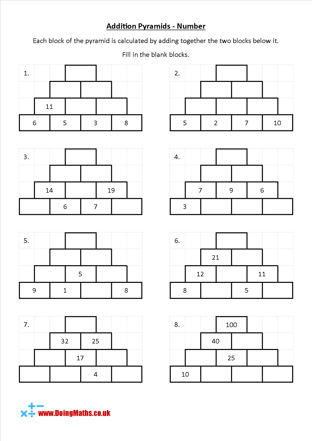 Addition Pyramids Free Maths Worksheet In 2021 Free Math Worksheets Free Math Kindergarten Math Worksheets