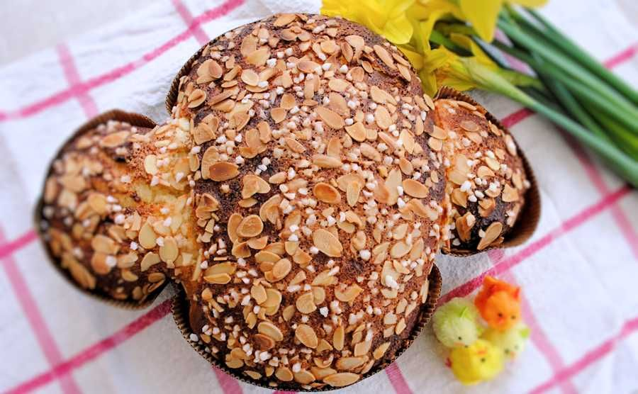 Colomba pasquale italian easter bread baked in the shape