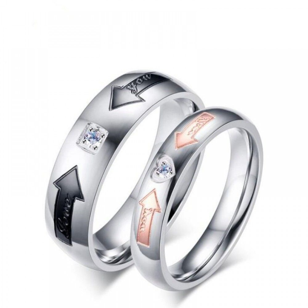 6d90a31fbd0e7 Titanium Steel Silver Rose Gold Black Promise Rings for Couples ...