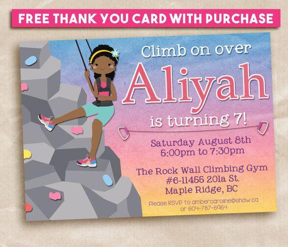 Printable Birthday Invitation Rock Climbing Party Girl Climber 5x7
