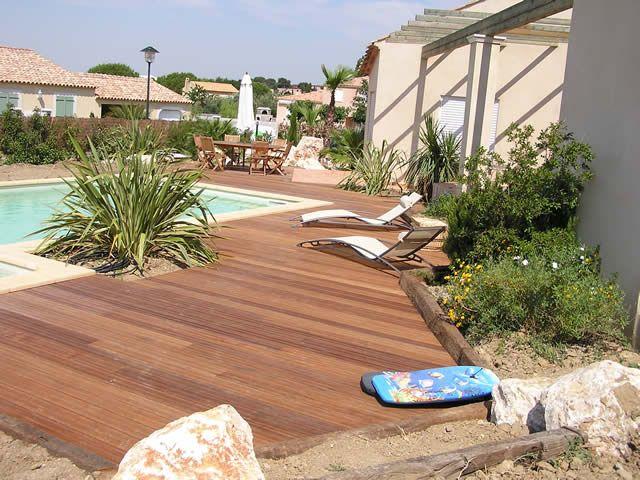 terrasse en bois #lambourdes #margelles Bois Terrasses, terrace - terrasse bois avec bassin
