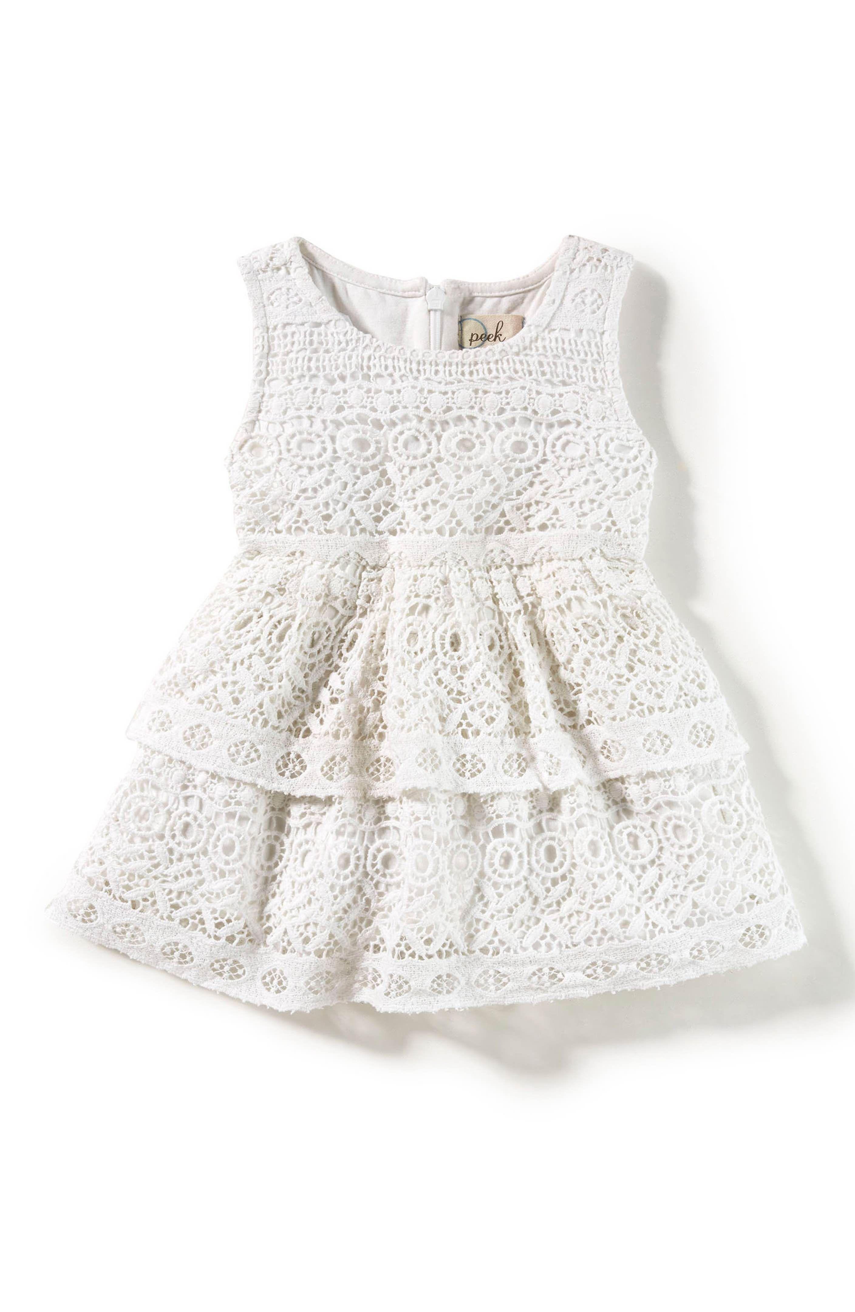 Main Image Peek Tessa Tiered Lace Dress Baby Girls