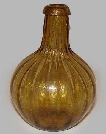 Early 19th Century Amber Blown Glass Bottle Old Bottles And