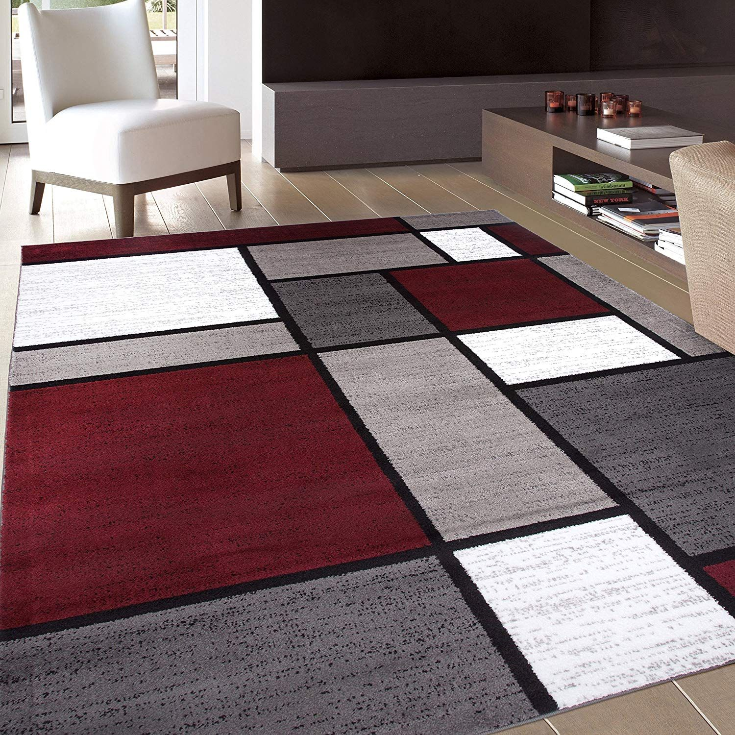 Contemporary Modern Boxes Area Rug 5 3 X 7 3 Blue
