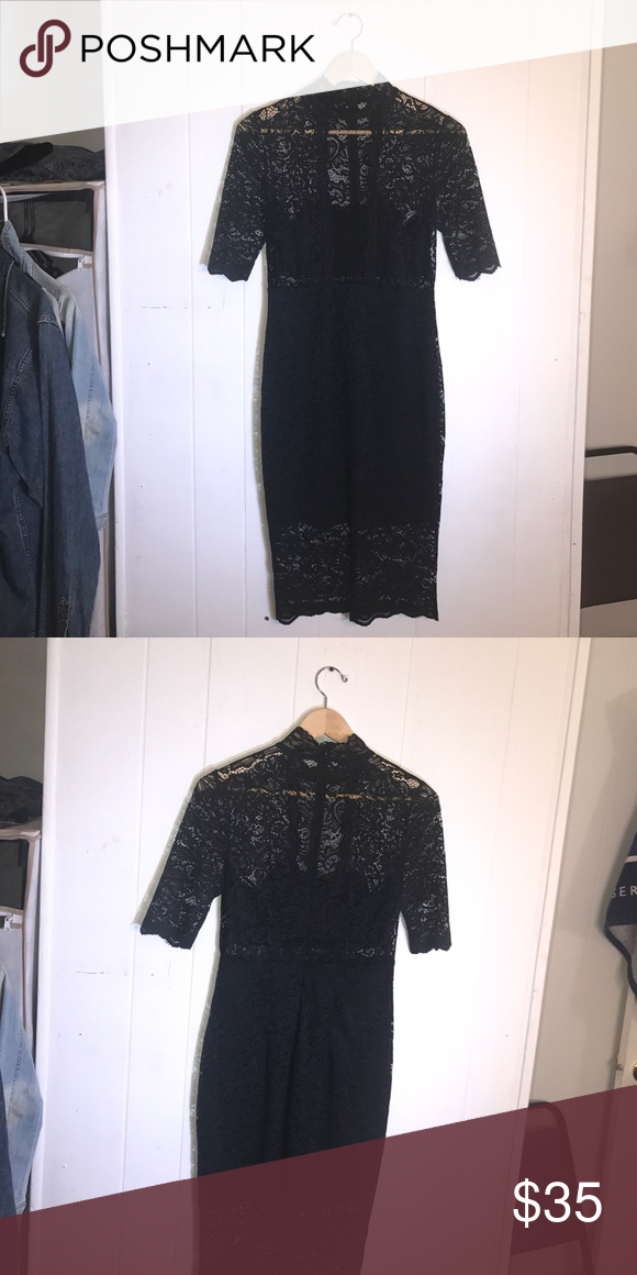 Express Black Lace Dress Express Black Lace Dress Two Piece