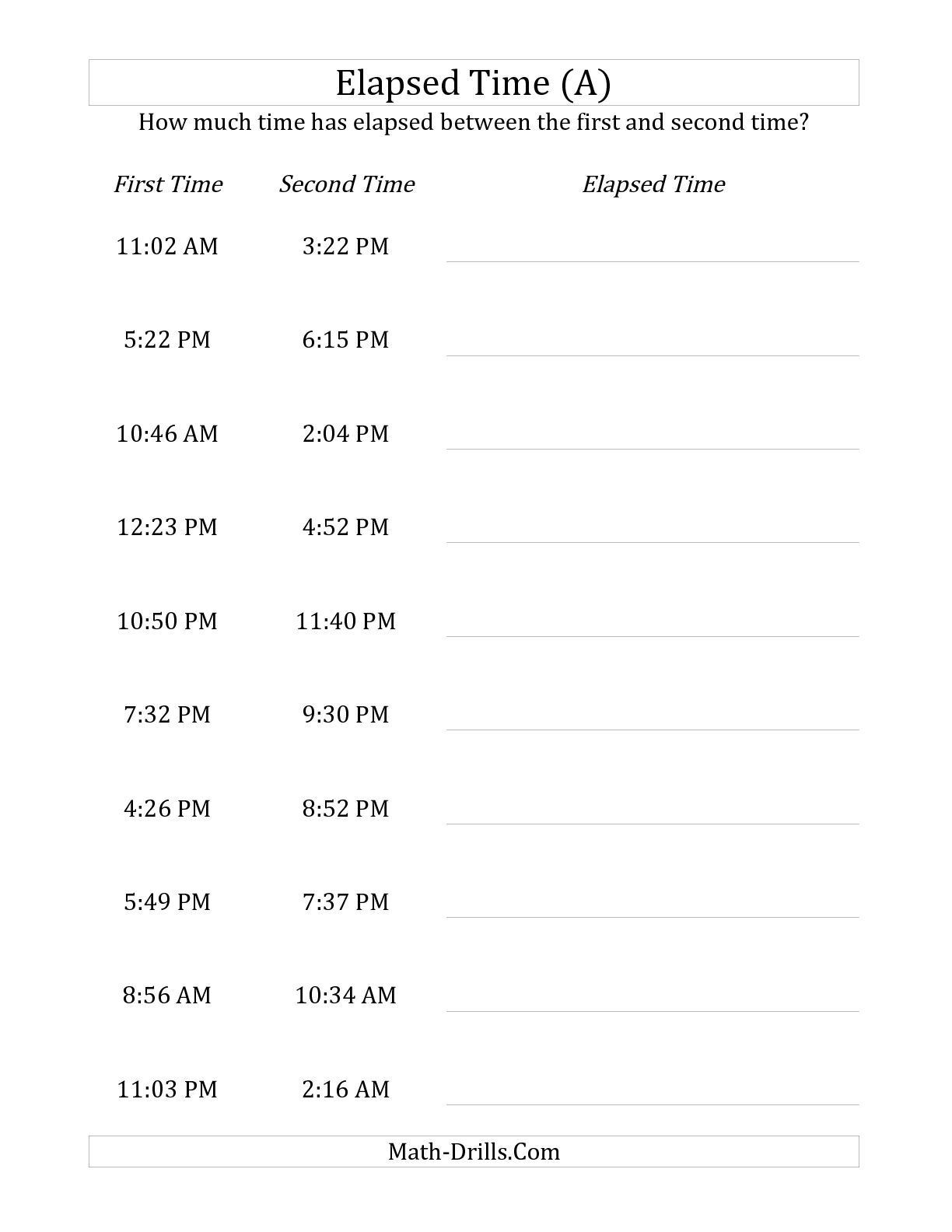 The Elapsed Time Up To 5 Hours In 1 Minute Intervals A Math Worksheet From The Time Worksheet