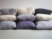 Strickkissen 40 X 40 Cm 100 Wolle Big Pearl Grau Strickkissen