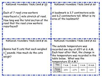 RATIONAL NUMBERS (Fractions & Decimals) Word Problems - Task Cards