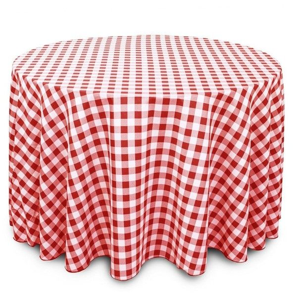 LinenTablecloth 108 Inch Round Polyester Tablecloth Red White Checker ($14)  ❤ Liked On Polyvore Featuring Home, Kitchen U0026 Dining, Table Linens,  Checkered ...