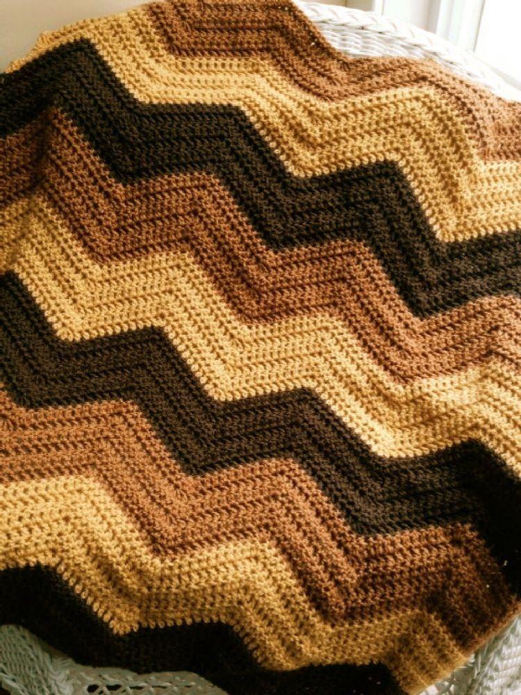 CROCHET handmade baby blanket afghan lap chevron ripple VANNA yarn ...
