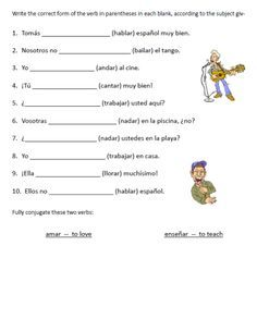 graphic about Spanish Verb Conjugation Worksheets Printable named Spanish Worksheets Printables printable spanish monthly