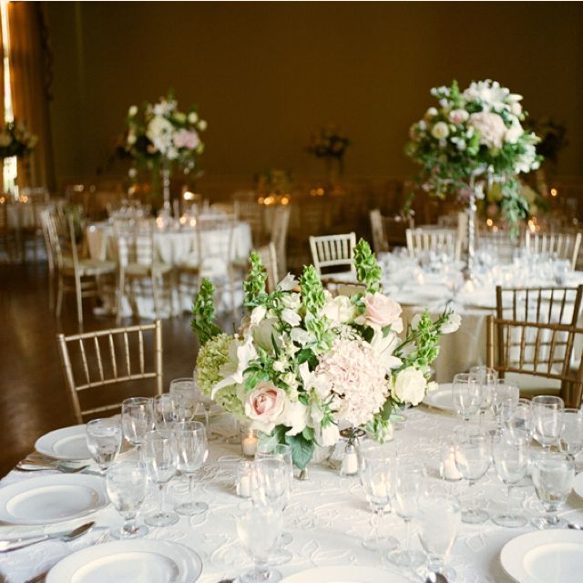 Wedding High Table Decoration Ideas: Gold And White And High And Low Centerpieces.
