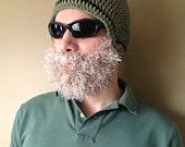 Handmade Crochet Moose Beard Hat in brownish beanie hat with Brown beard, Halloween for men, women, kids, or babies #crochetedbeards