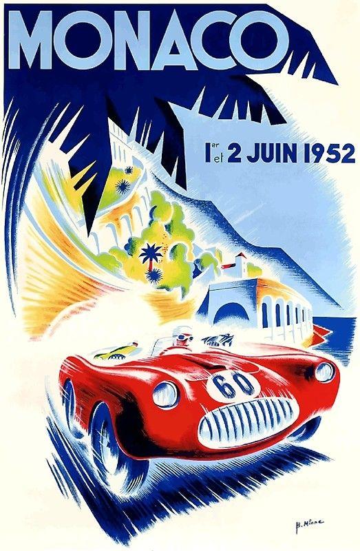 1960 Monaco Grand Prix Automobile Race Car Advertisement Vintage Poster