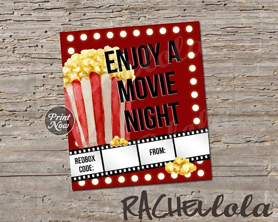 Redbox Code Movie Lights And Popcorn Movie Night Gift Tag Teacher