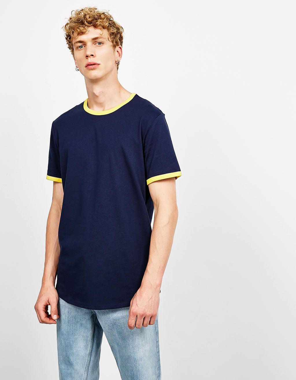 26a73928526 Contrasting ribbed T-shirt | clothes and shoes l want | Mens tops ...
