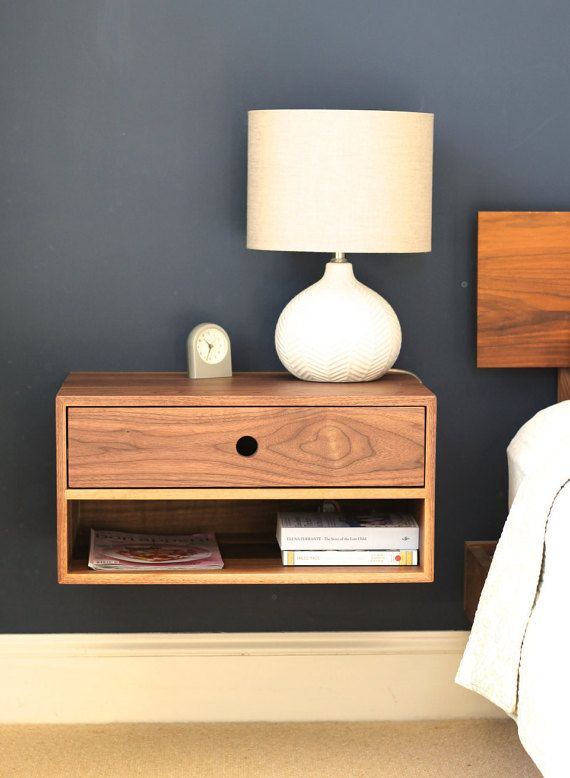 Floating Nightstand with Drawer in Walnut Mid Century Modern