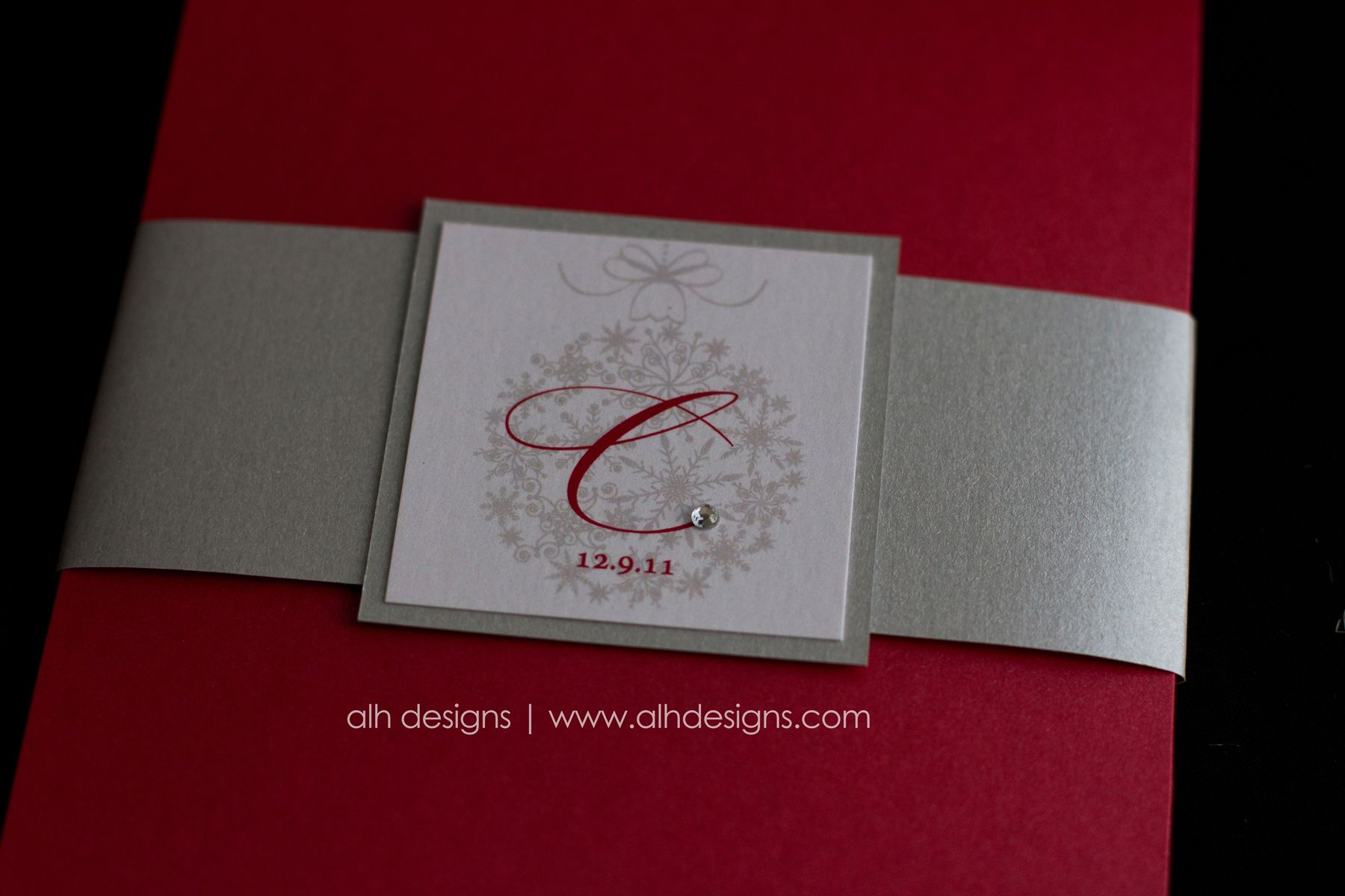 Snowflake Winter Holiday Wedding Invitation Suite #red #silver ...
