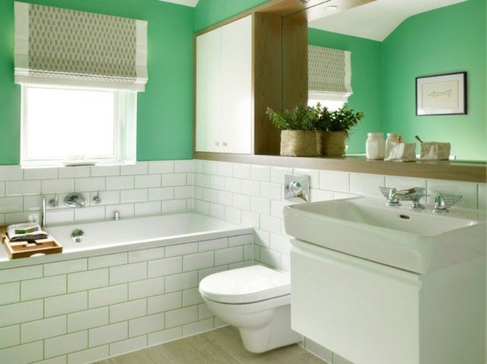 Badezimmer Vorschläge ~ Wunderschönes kleines badezimmer einrichten grüne wände