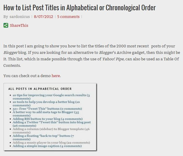 How to List Post Titles in Alphabetical or Chronological Order - reverse chronological order