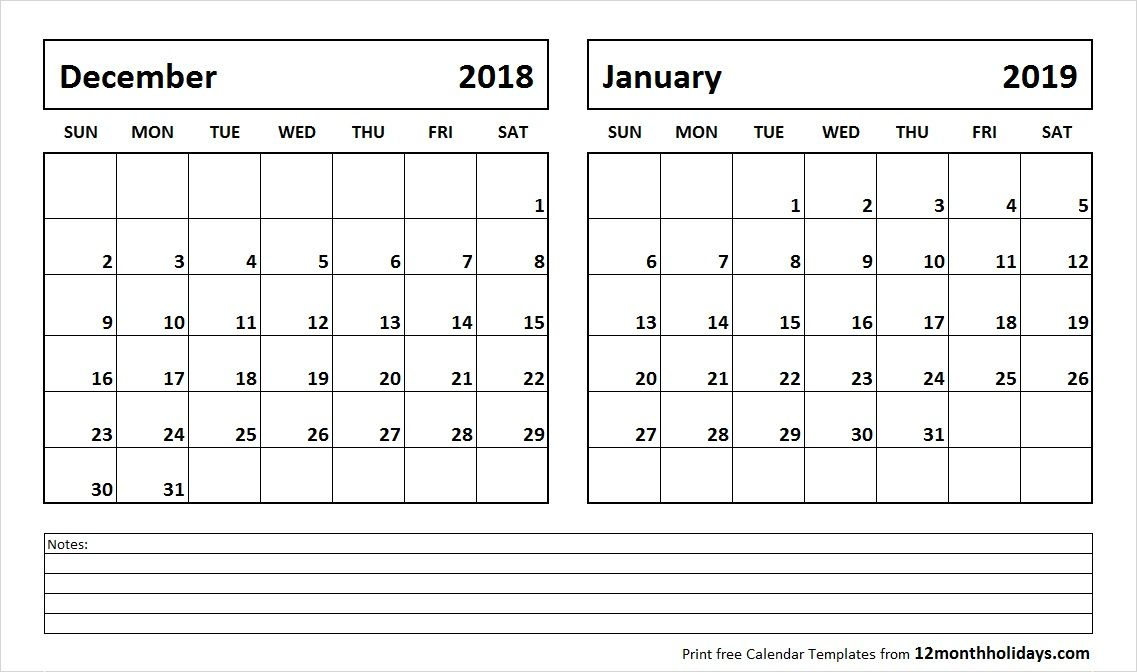 December 2018 And January 2019 Calendar 2018 Calendar Pinterest